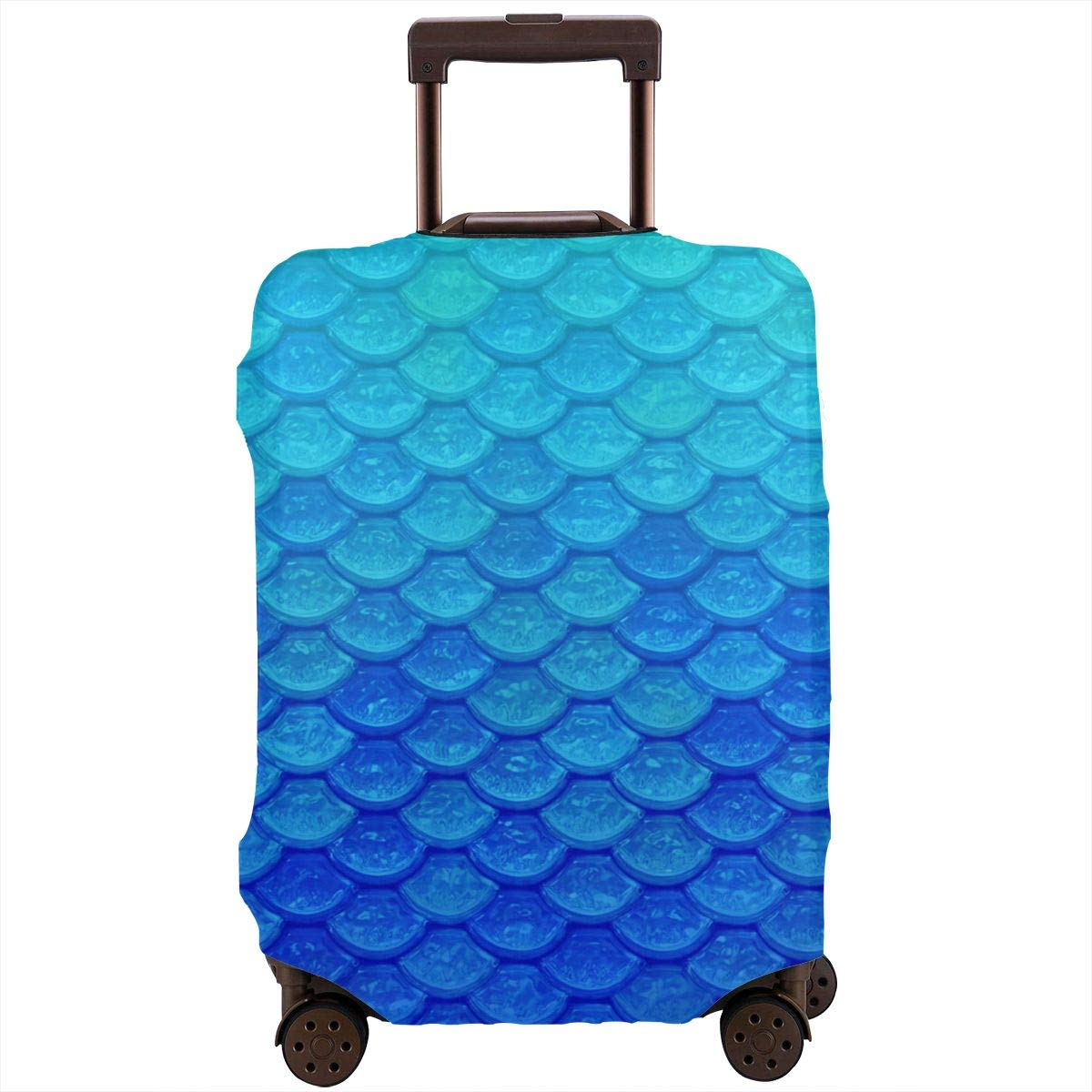 Tlkkkd_N Blue Mermaid Scales Travel Luggage Cover Anti-Scratch Baggage Suitcase Protector Cover Fits 18-32 Inch
