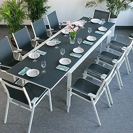 Table Violet Et 10 Chaises Abigail Blanc Gris Table