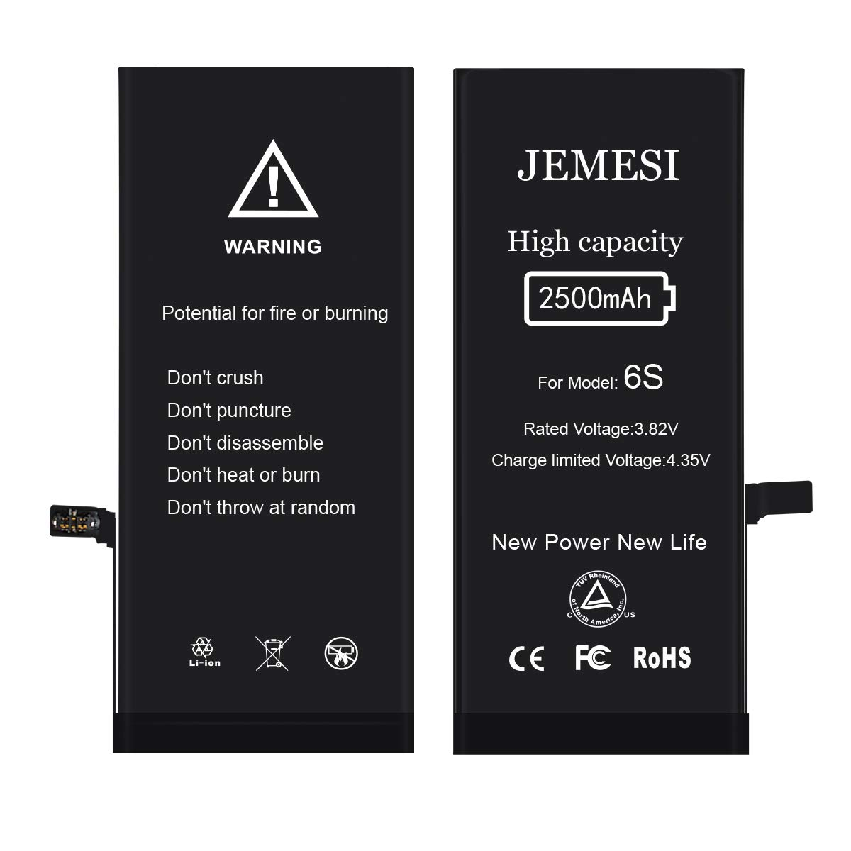 JEMESI High Capacity 2500mAh Replacement 6s Battery Compatible with A1633 A1688 with Replacement Kits 0 Cycle 2 Year Warranty
