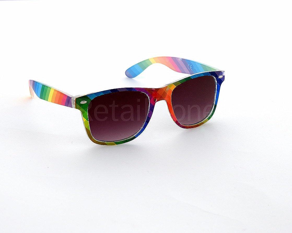 4c9c12f5795df Rainbow Wayfarer Aviator Sunglasses Retro 80 s Fashion Wayfarers Geek Tint  Lenses  Amazon.co.uk  Clothing