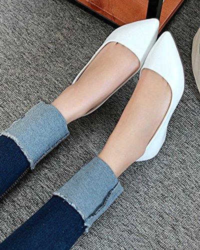 Aisun Women's Comfy Slip On Low Cut Loafers White 5xhmxwpOcE