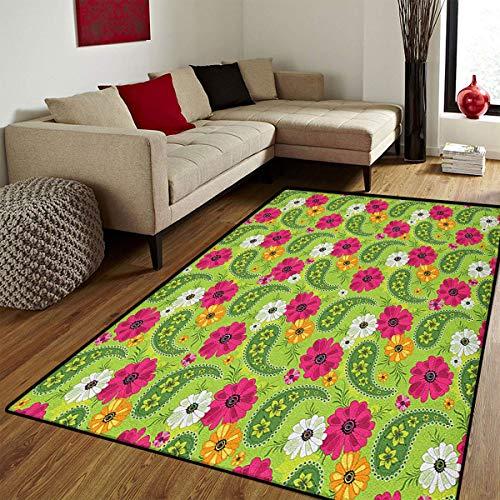 r Home,Floral Pattern with Vivid Paisley Print Old Vintage Boho Style Print,Floor mat Bath Mat for tub,Pistachio Pink Orange,6x7 ft ()