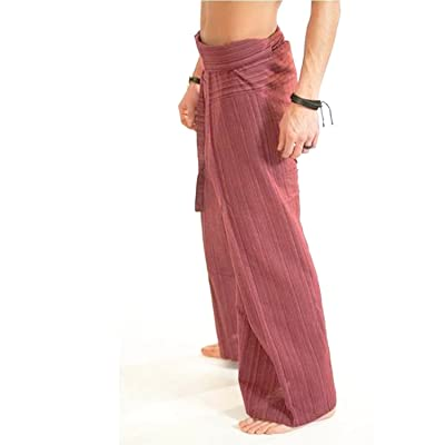 """Clickthai"" ""Best Seller"" 100% Heavy Cotton Thai Fisherman Pants Yoga Pregnancy Pants (Brick Red line).. Free 1 Gift Wallet..!!."