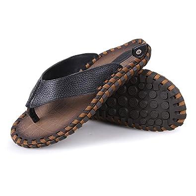 Sandalen für Männer Soft Handgemachte Gummisohlen Sommer Fashion Daily Leder Strand Flip-Flops,Black,42