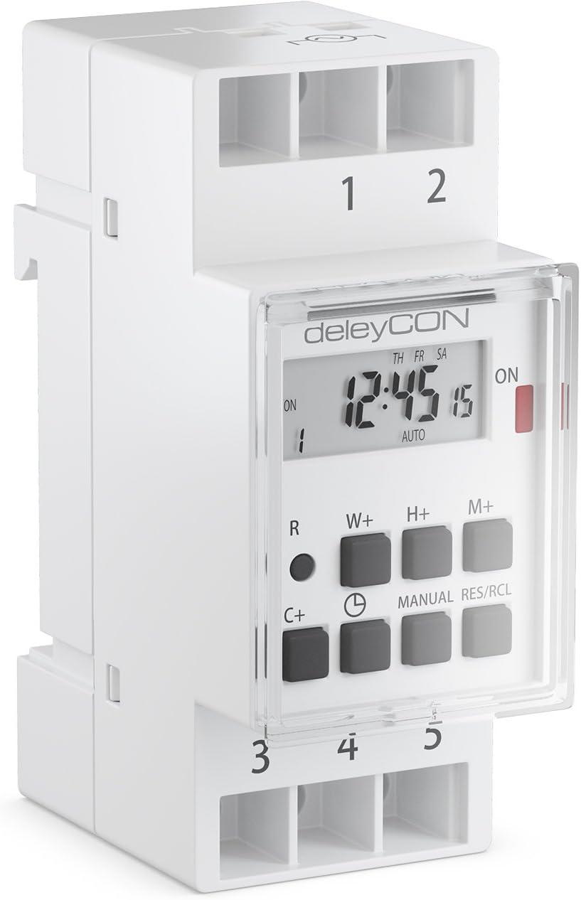 deleyCON Temporizador Digital para Instalación en Paneles de Control con Pantalla LCD Temporizador Semanal 3600W Blanco