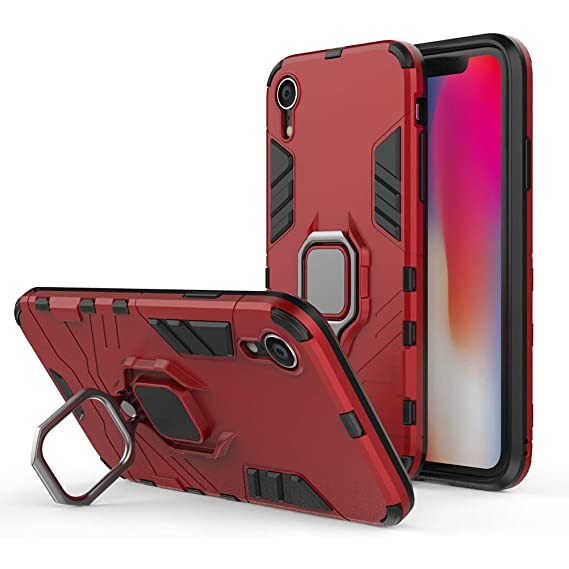 Newseego Compatible iPhone XR Case,360 Degree Adjustable Ring Stand Frosting Thin Soft Shockproof Protective and Ring Holder Metal Kickstand Fit Car Mount Cover for Apple iPhone XR Black+Red