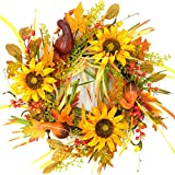 Idyllic 20 Inch Sunflower Wreath Large Artificial Floral Branch Wreath with Mixed Flowers Harvest Wall Hanging Decorative Summer Fall Wreath on a Natural Cane Base