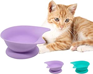 Cute Cat Bowls:Elevated Cat Food Bowls with Suction Cups,Silicone Pet Feeding Water Bowls for Cats and Small Dogs,Raised Cat Bowl for Neck Protection (Purple)