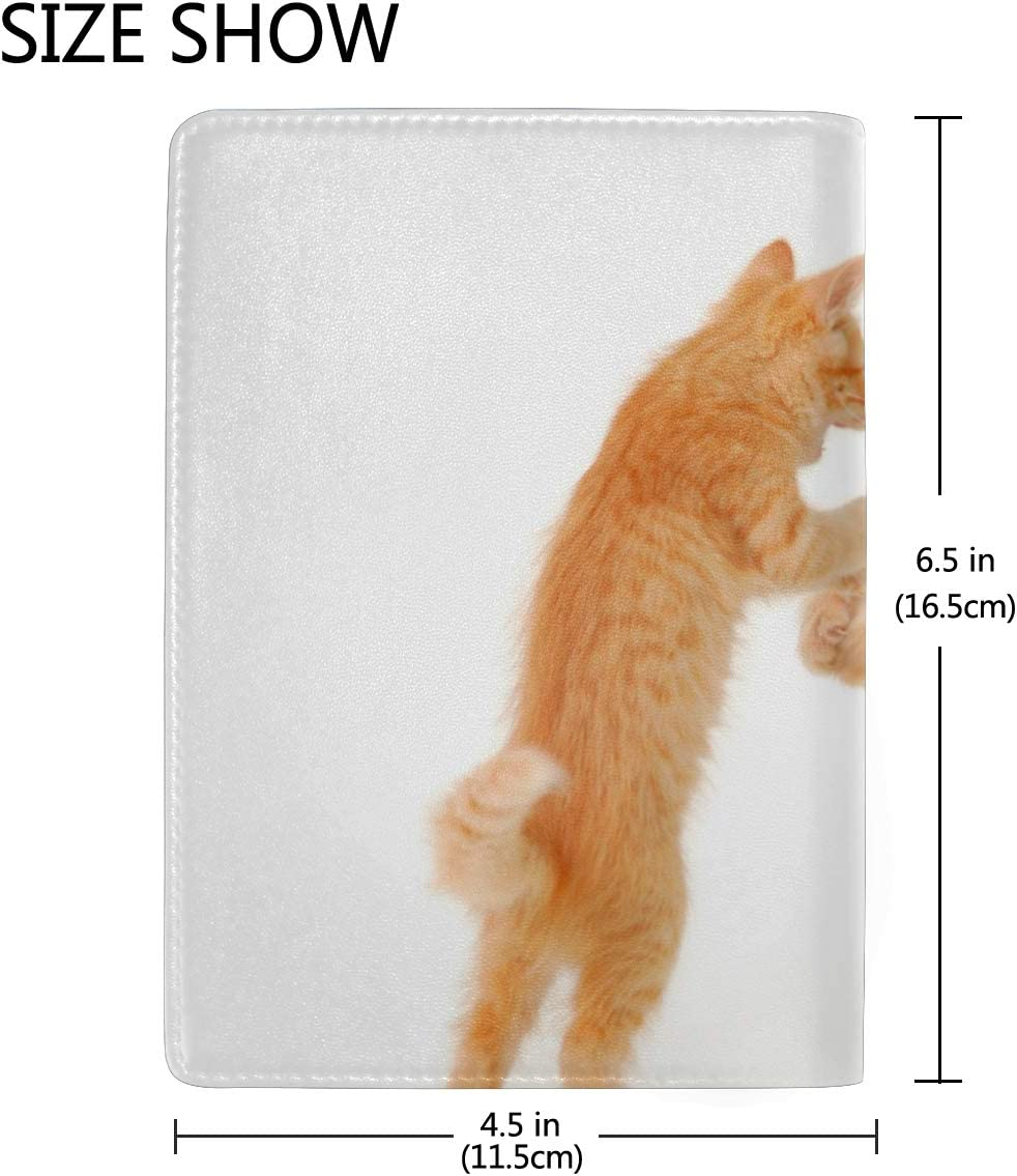 Funny Dancing Cat On White Floor Blocking Print Passport Holder Cover Case Travel Luggage Passport Wallet Card Holder Made With Leather For Men Women Kids Family