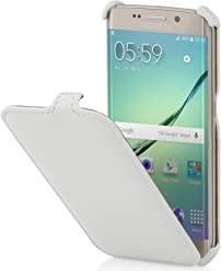 StilGut Slim Case, Custodia per Samsung Galaxy S6 Edge, Bianco Vintage