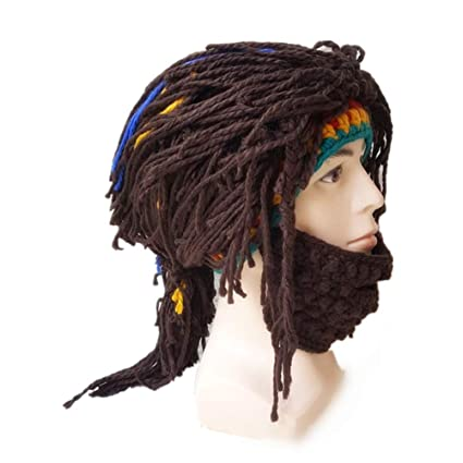 f45a546beb8 Amazon.com  LUOEM Funny Wig Beard Hats Beard Wool Hats Hobo Handmade  Beanies Winter Wool Knit Warm Hat for Christmas Easter Party Cosplay  (Revision)  Toys   ...