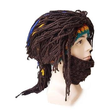 Amosfun Peluca Barba Sombreros de Punto máscara de la Barba Gorras de Invierno Gorro Divertido Gorro