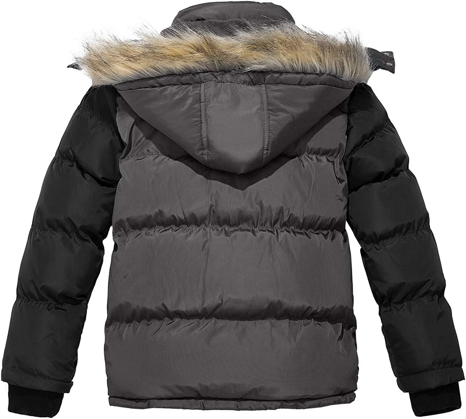 Wantdo Boys Hooded Puffer Jacket Thick Coat with Reflective Stripe