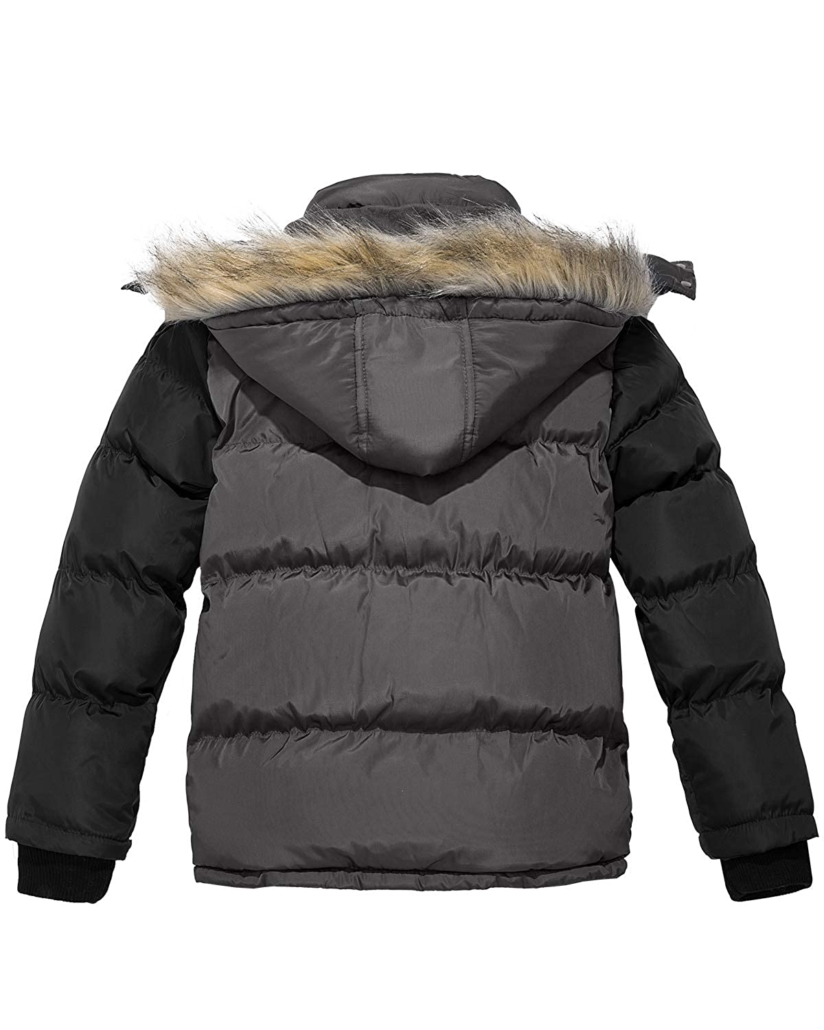Wantdo Boys Hooded Puffer Jacket Thick Winter Coat Warm with Reflective Stripe