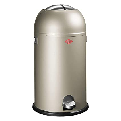 Wesco Kickmaster 33 Liter Zilver.Wesco Kickmaster Powder Coated Steel Waste Bin 33 Litre Silver