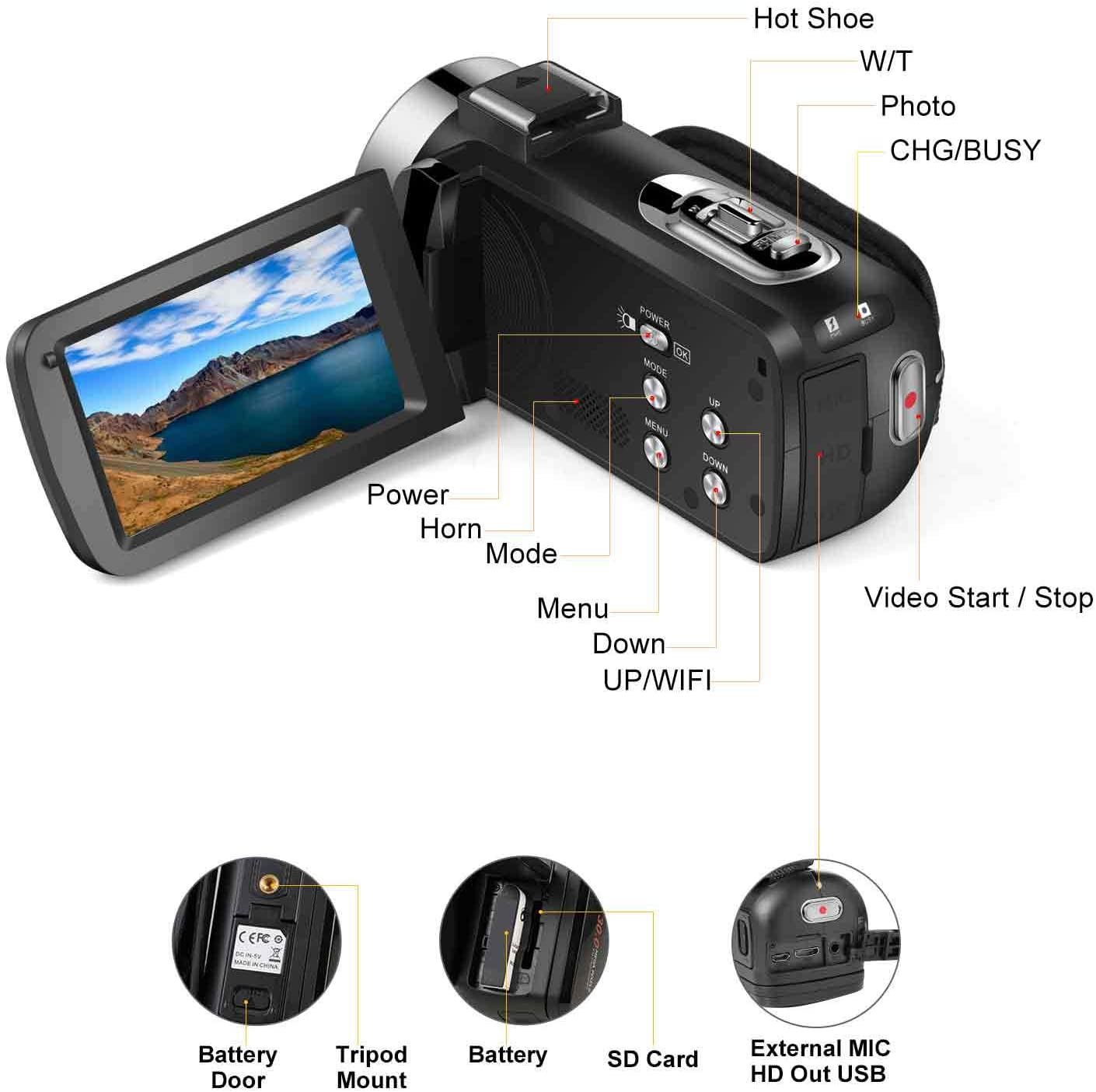 Digital YouTube Vlogging Camera FHD 1080P 30FPS 24MP 16X Digital Zoom 3 Inch Touch Screen Video Recorder with Remote Control and Tripod Video Camera Camcorder 2 Batteries