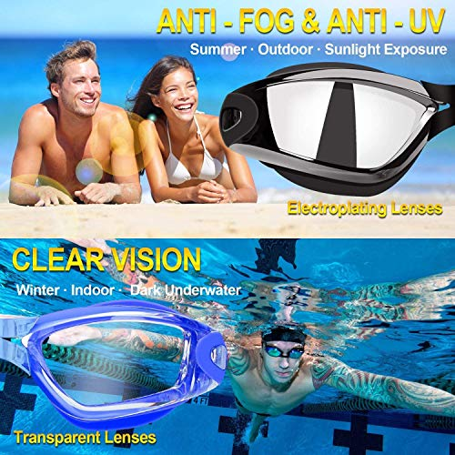 Elimoons Swim Goggles for Men Women Kids Youth Adult, Swimming Goggles for Child, No Leaking Anti Fog UV Protection Triathlon, with Mirrored & Waterproof, UV 400 Protection Clear Lenses, 2 Pack