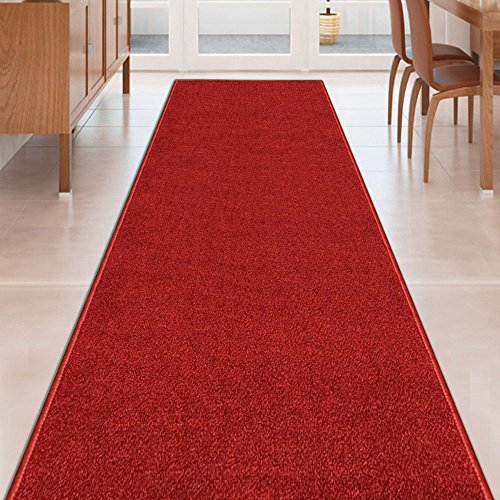 Kapaqua RED Solid Plain Rubber Backed Non-Slip Hallway Stair Kitchen Runner Rug Carpet 22in X 5ft]()