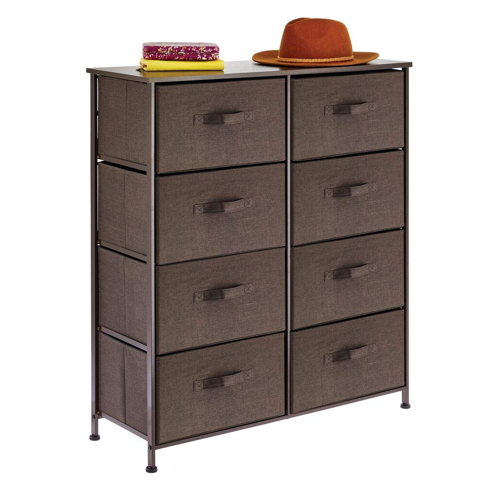 mDesign Vertical Dresser Storage Tower - Sturdy Steel Frame, Wood Top, Easy Pull Fabric Bins - Organizer Unit for Bedroom, Hallway, Entryway, Closets - Textured Print - 8 Drawers - Espresso Brown