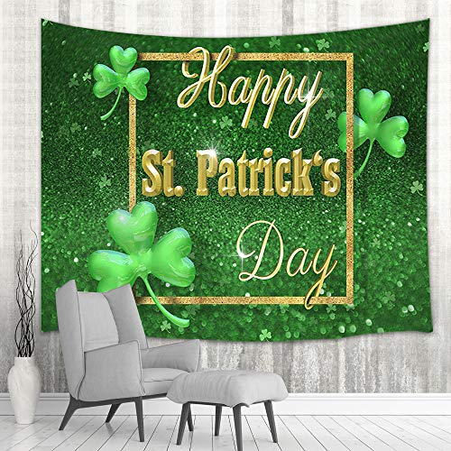 St. Patrick's Day Wall Tapestry Art Home Decor, Lucky Shamrock Clover Leaves in Golden Glitter for Spring Festival Tapestry Wall Hanging for Bedroom Living Room Dorm Bedspread, Wall Blanket,71X60in