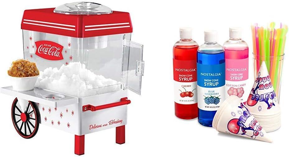 Nostalgia SCM550COKE Coca-Cola Snow Cone Maker with Premium Snow Cone Syrup Party Kit