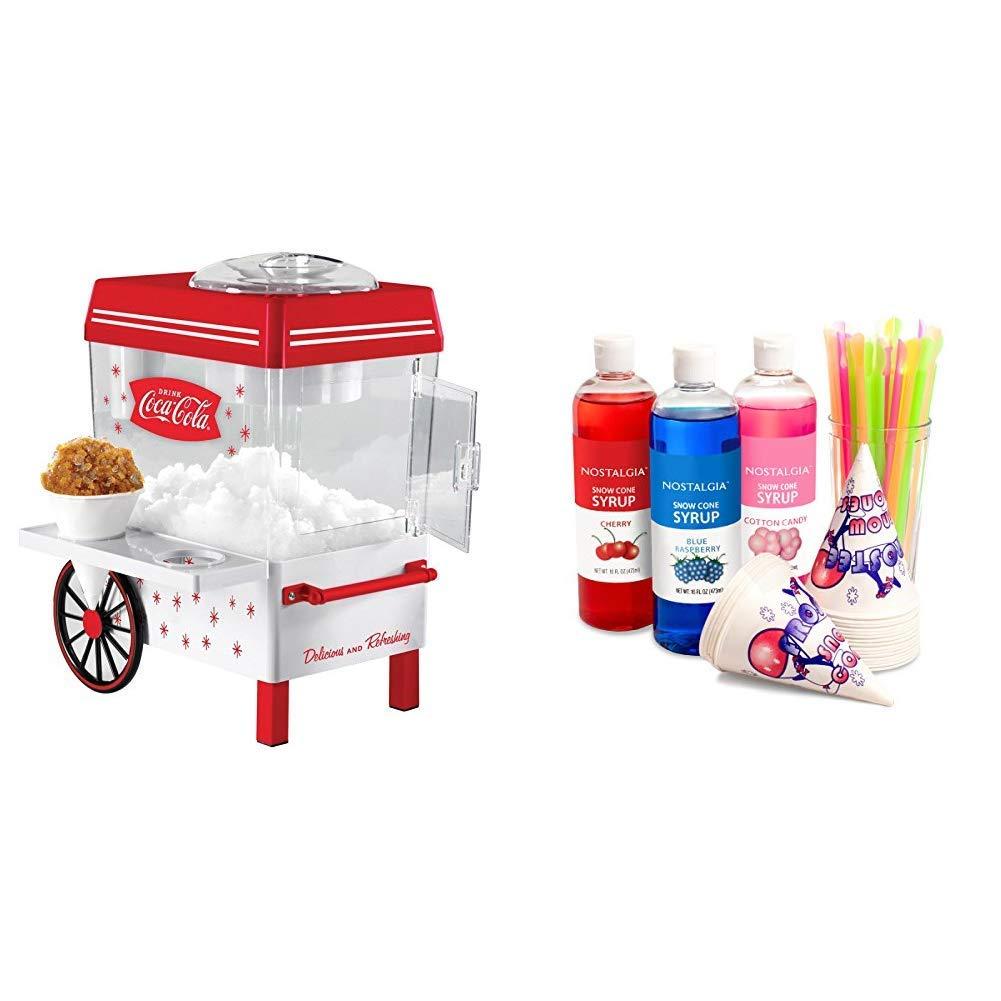 Nostalgia SCM550COKE Coca-Cola Snow Cone Maker with Premium Snow Cone Syrup Party Kit by Nostalgia