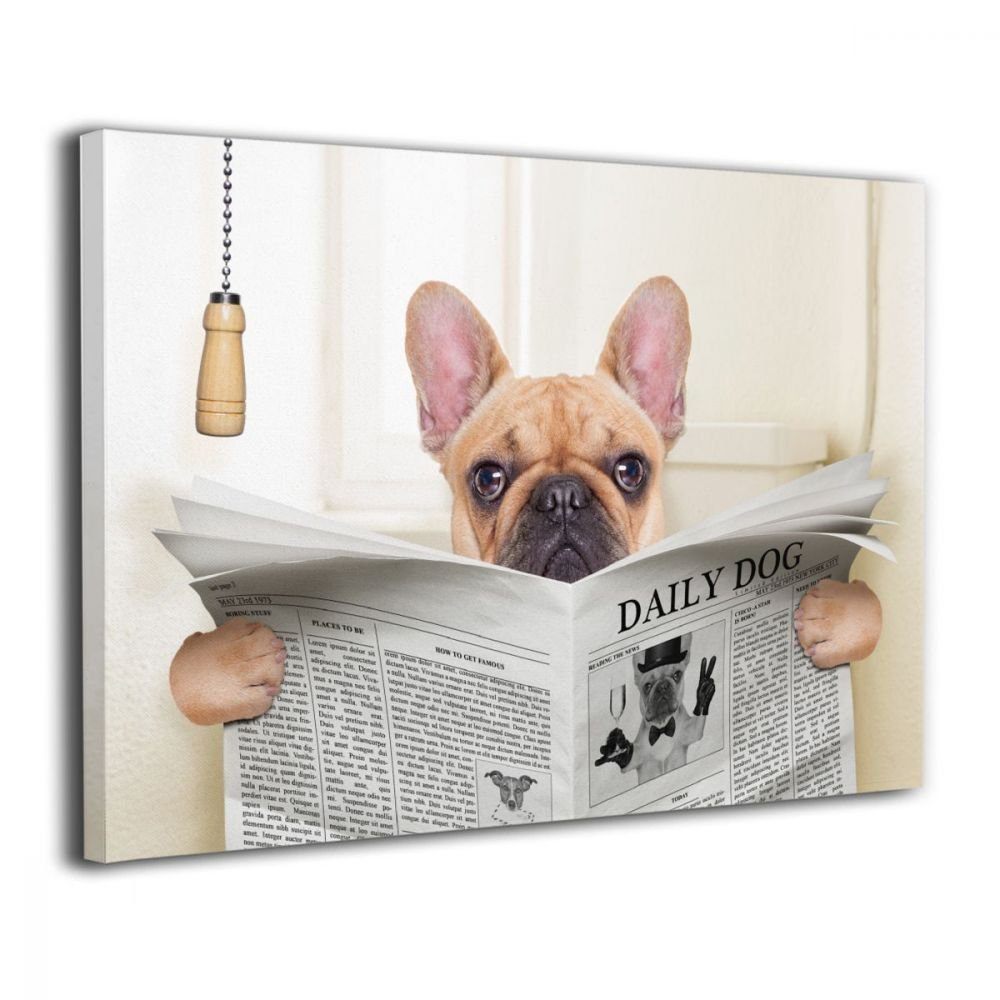 Ale-art Bathroom Wall Art -French Bulldog Sitting on Toilet and Reading Contemporary Canvas Artwork for Wall Decor 16'' X 20''