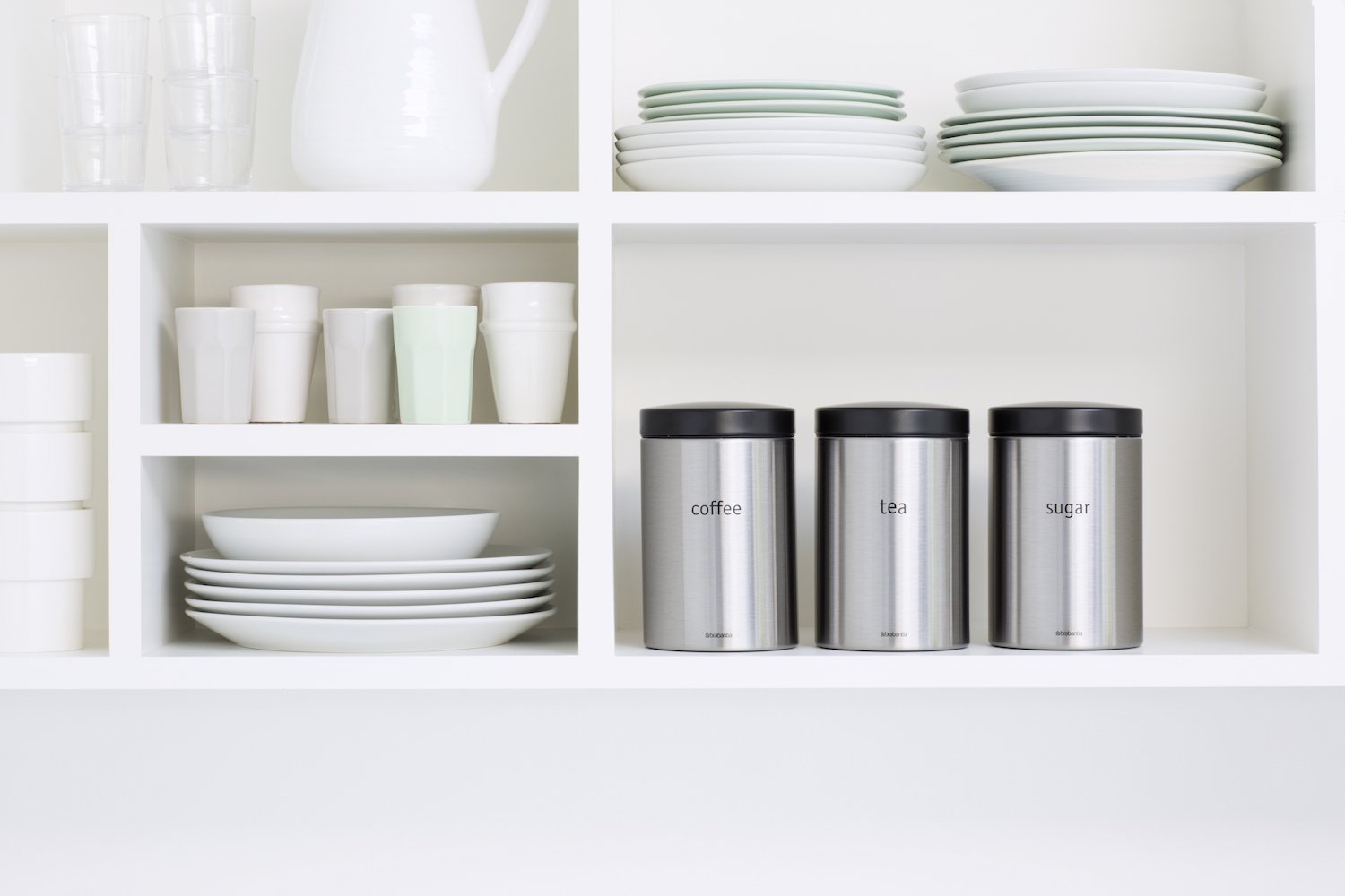 Coffee and Sugar Canisters 1.4 L Black Lid Brabantia Tea Brilliant Steel 3 Pieces