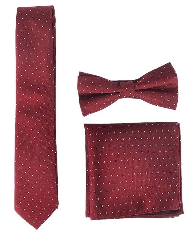 Conjunto de corbata + pañuelo + pajatira en color vino para traje de novio, fiesta, ceremonia.