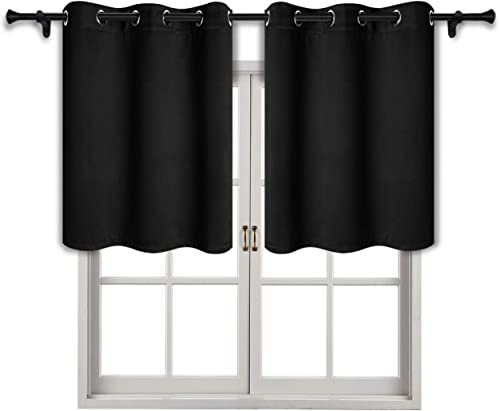 SUO AI TEXTILE Blackout Curtain Valances Thermal Insulated Grommet Short Winow Valance Curtains,42×36 Inch,Black,2 Panels