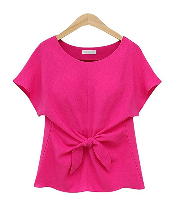 295f1addb036 YMYY-Kleider Verano Mujer Blusa Lazo Colores Lisos Tee Remata T ...