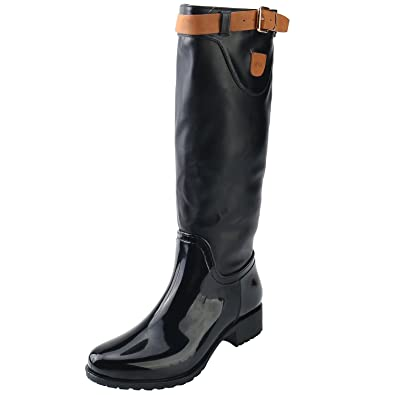 57cd5f26e63 Alexis Leroy Women's Jodhpur Knee-High Motorcycle Buckle Heeled Snow Rain  Boots