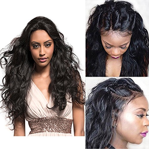 (Berimy Glueless Full Lace Human Hair Wigs for Black Women 130% Density Natural Color Body Wave Brazilian 8A Lace Front Human Hair Wigs with baby Hair Pre Plucked Hair Line (Lace Front Wig 16))