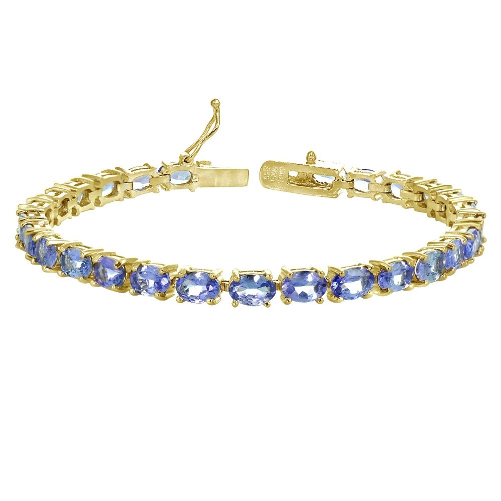 Yellow Gold Flashed Sterling Silver 6X4mm Tanzanite Oval-cut Tennis Bracelet