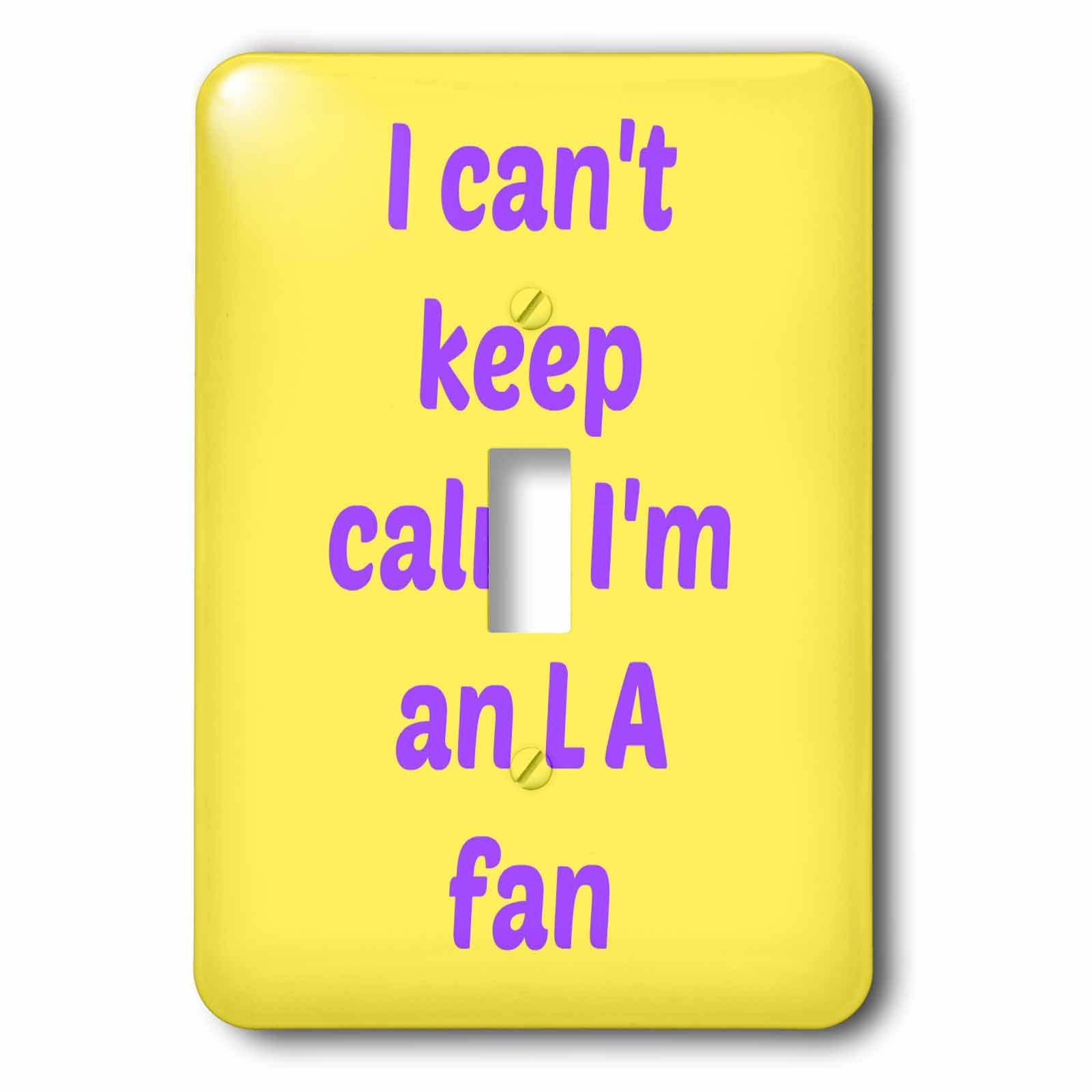 3dRose lsp_172867_1 I Cant Keep Calm Im an L a Fan, Purple, Yellow Light Switch Cover