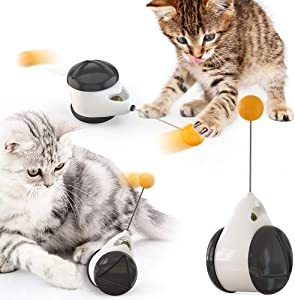 Dr.Kong Cat Toy Chaser Balanced Cat Chasing Toy Interactive Kitten Swing Back and Forth for Small Medium Large Cats
