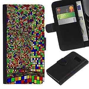All Phone Most Case / Oferta Especial Cáscara Funda de cuero Monedero Cubierta de proteccion Caso / Wallet Case for Sony Xperia Z3 Compact // Cube Colorful Game Art Design Interior Layrinth