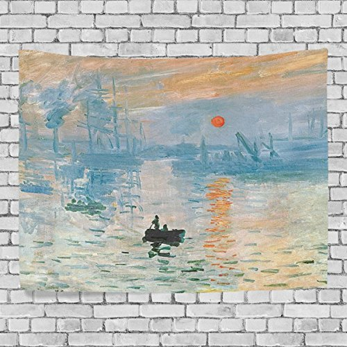 Impressions Wall Tapestry - HMWR Monet Impression Sunrise Wall Hanging Tapestry Art Monet Oil Painting Sailing Boat Wall Dorm Decor 60