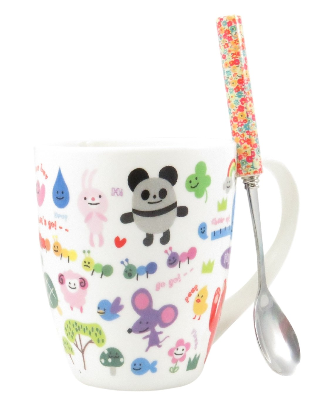 Cute Animal Ceramic Tea Coffee Mug Cup Kids Adults 11 Fl Oz with Flower Spoons (3 Piece Set) by Daiso