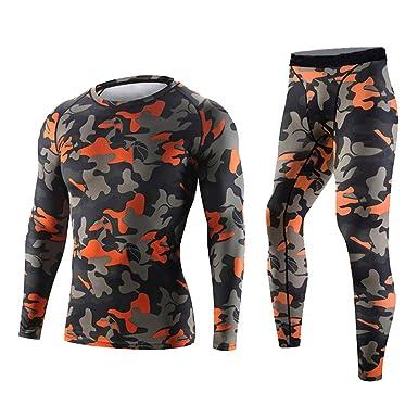 5acdb635df766 Men's Camouflage Compression Set Long Sleeve Shirt + Pants for Workout  Running Yoga(Orange M