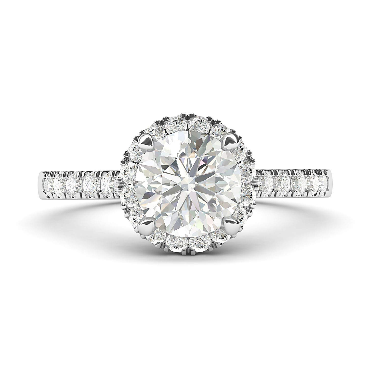 14k White Gold Classic Simulated Round Brilliant Cut Diamond Halo Engagement Ring with Side Stones (6.5) by THELANDA (Image #1)