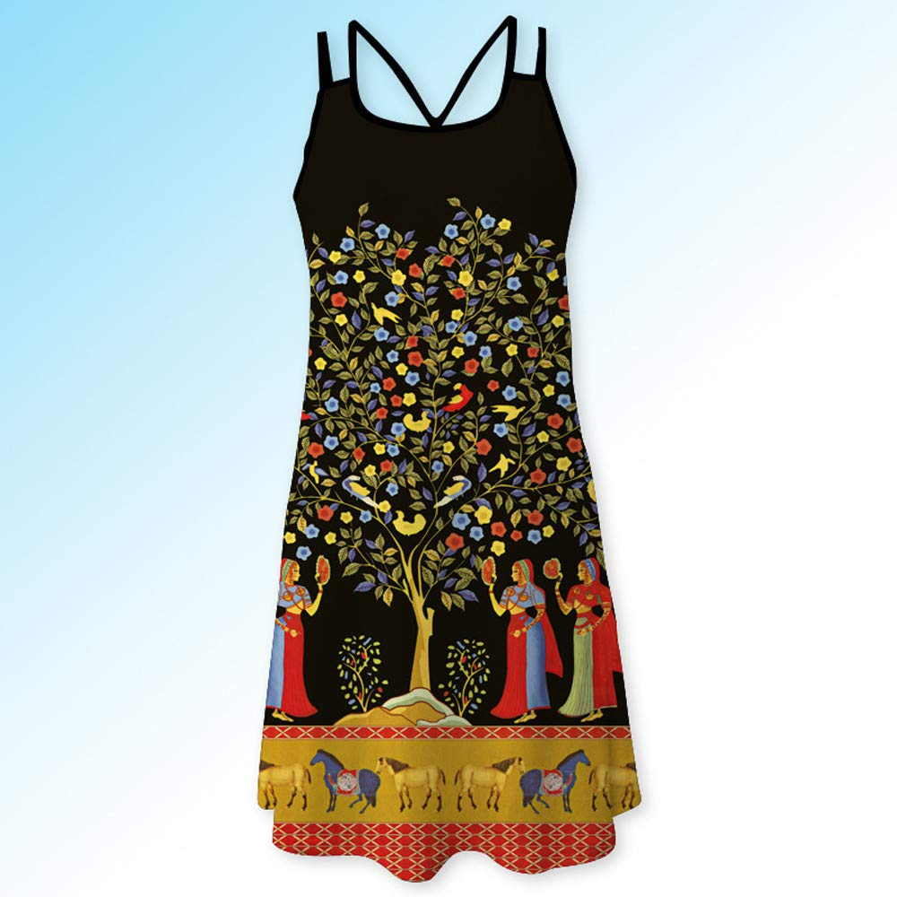 Wokasun.♪♪ Women Casual Dress,Summer Vintage Sleeveless 3D Floral Print Skirt Boho Tank Short Mini Vest Dress Wokasun.JJ CJT520