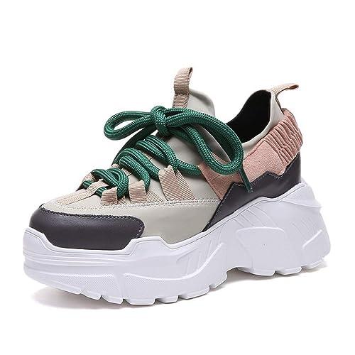 | JOYBI Women Platform Wedge Sneakers Lace Up