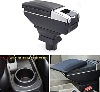 for Mazda 2 Sedan 2008-2013 Mazda 3 2015-2016 Car Center Console Armrest Storage Box Accessories with Cup Holder and Removable Ashtra Black