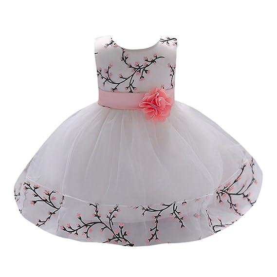 feiXIANG Bambino Ragazze Abiti Stampa Tutu in Pizzo Eleganti Vestiti della  Ballo Battesimo Vestito da Principessa 02634924ff0