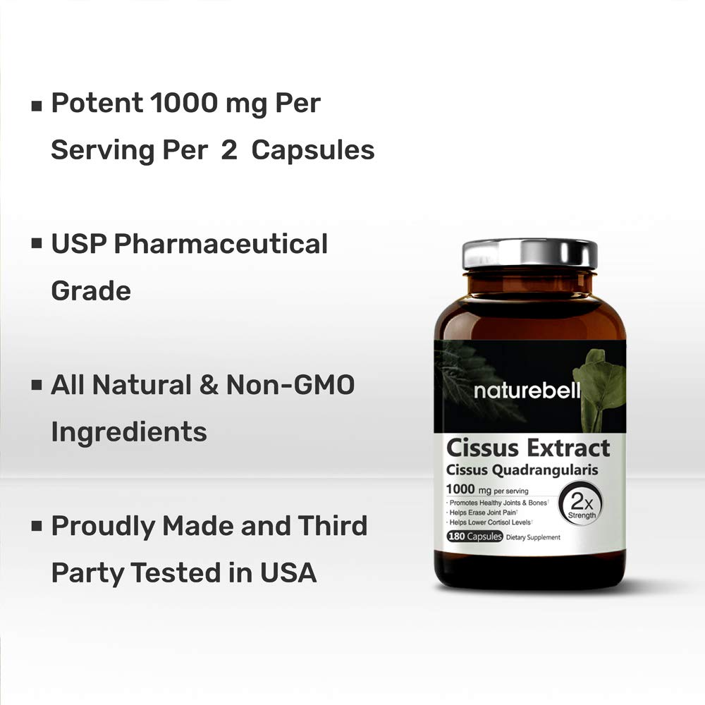 Pure Cissus Quadrangularis Extract, 1000mg per Serving,180 Capsules, Powerful Joint, Bone and Tendon Health Support. Non-GMO, Gluten Free and Made in U.S