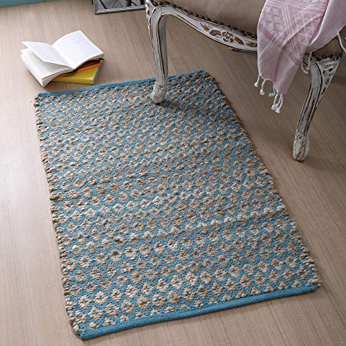 Jute Cotton Rug 2x3 Feet (24x36 inches) - Hand Woven by Skilled Artisans, for Any Room of Your Home décor - Reversible for Double The wear - Diamond Design - Jute Cotton Rug - Natural Teal