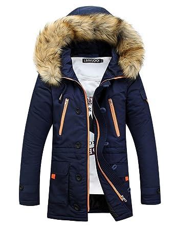online hier Online bestellen bester Großhändler MILEEO Herren Jacke Kapuze Winterjacke Winter ManteL Jacket Warm Parka  Westen Hoodie Pelzkragen künstlichl Long