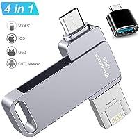 Memorias USB 128GB Smartphone USB 3.0 Unidad Memoria Flash,PHICOOL USB Flash Pen Drive para iPhone iPad,OTG Android y…