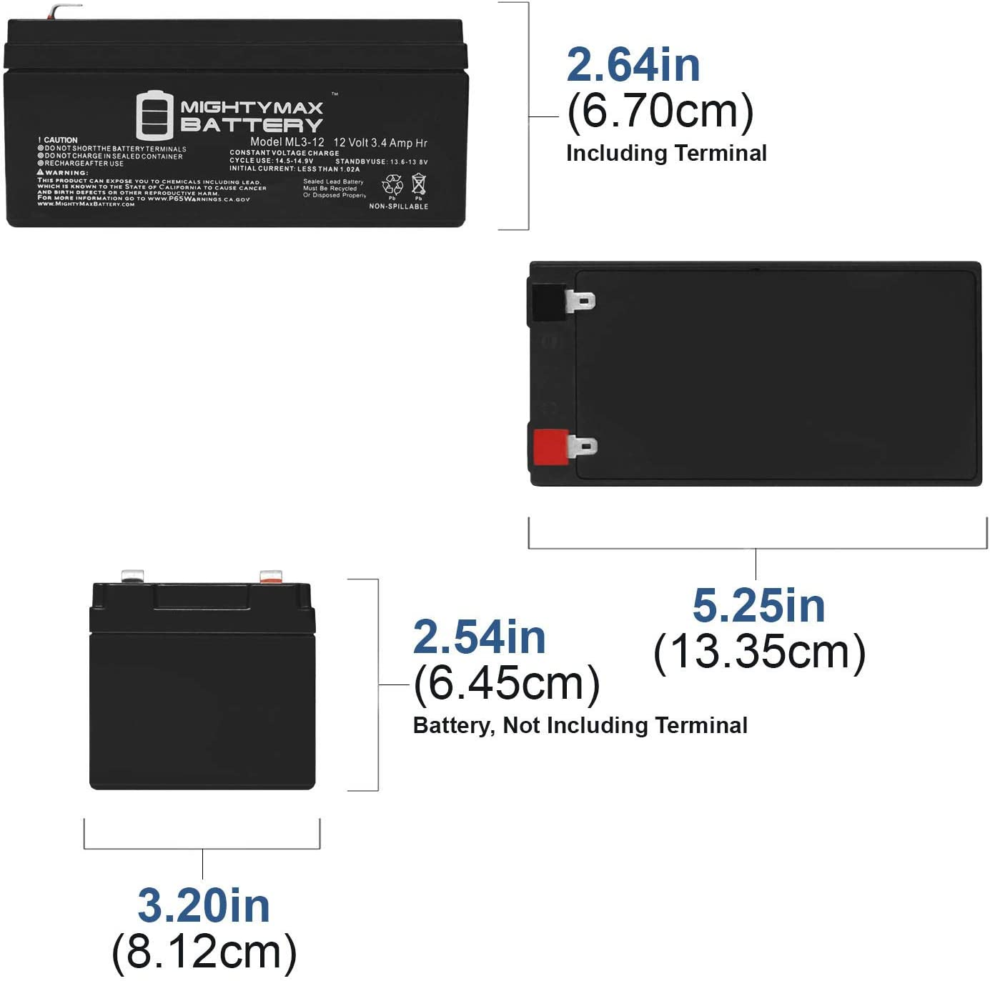 10 Pack Brand Product Mighty Max Battery ML3-12 12v 3000 mAh Compatible Battery for UPS APC 350ES